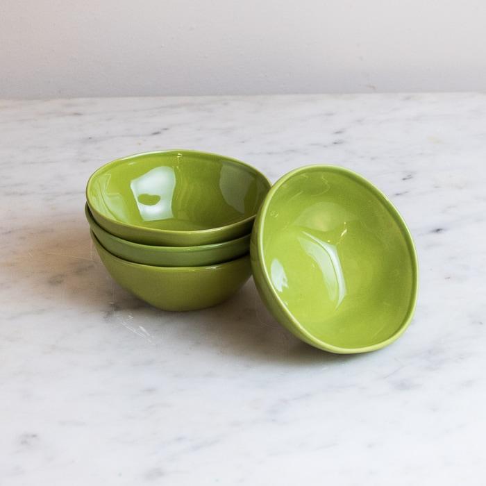 set of 4 small green dipping bowls